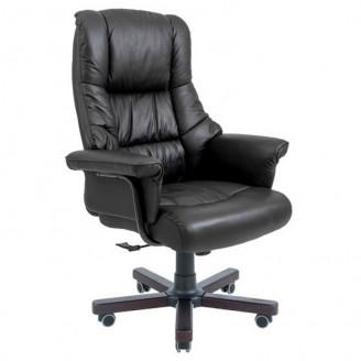 Кресло Richman Конгрес кожа черная  +  Вуд