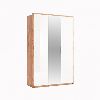 Шкаф MiroMark Никки 3Д дуб крафт/белый глянец с зеркалом