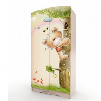 Шкаф платяной Вальтер Мишка с букетом-80