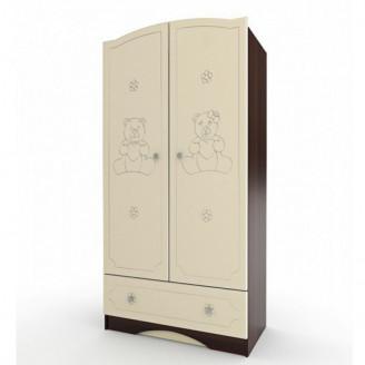 Шкаф платяной Вальтер Мишка Ваниль + орех темный