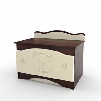 Ящик для игрушек Вальтер Мишка Ваниль + орех темный